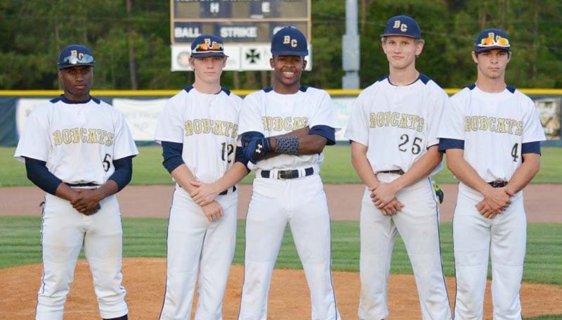 Daily Leader / Stacy Leake / The Bogue Chitto baseball team celebrated Senior Night Thursday night against Salem as they recognized seniors (from left) Rudy Brumfield, Connor Douglas, De Nunnery, Brandon Mckenzie and Kobe Roberts.