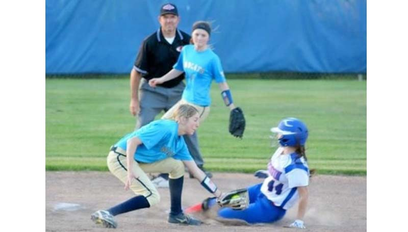 Daily Leader / Stacy Leake / Bogue Chitto's shortstop Terrah Nelson put a tag on Wesson's Amber Brinson sliding into second base Friday night.