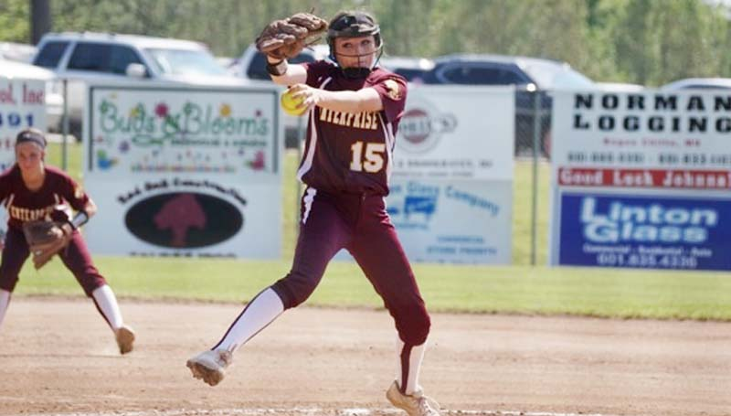 Daily Leader / Jana Nations / Enterprise's Haley Nations prepares to deliver her pitch to Brookhaven in Saturday's Loyd Star's Softball Tournament.