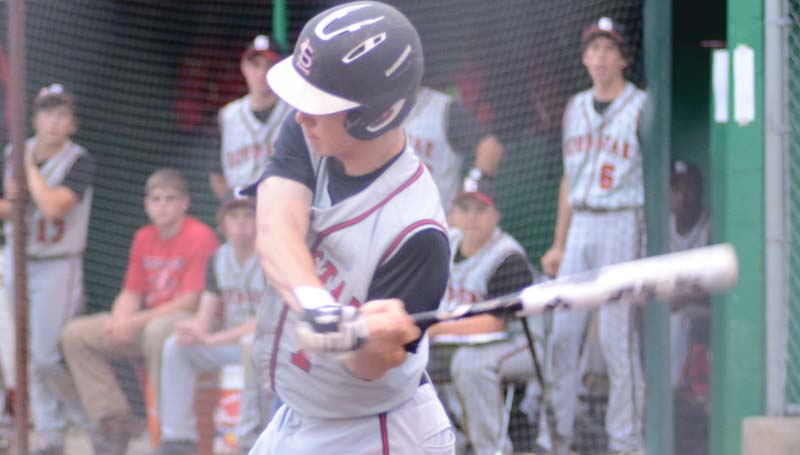 Daily Leader / Marty Albright / Loyd Star's Parker Flowers hits a two-run homerun in the third inning against the Bears.