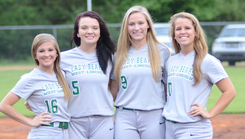 Daily Leader / Marty Albright / West Lincoln honored their softball seniors Peyton White, Hanna Moak, Millane Lewis and Layton Sill  Tuesday night against Enterprise.