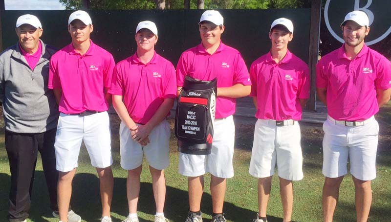 Co-Lin Media / The Co-Lin golf team captures first place in the Meridian Tournament Tuesday. Members of the Wolfpack golf team are from left, Coach Ronny Ross, Jason Byrd of Wesson, Brandon Blakney of Brandon, Joseph Dendy of Brandon, Philip Heine of Madison, and Cole Arseneault of Baton Rouge, Louisiana.