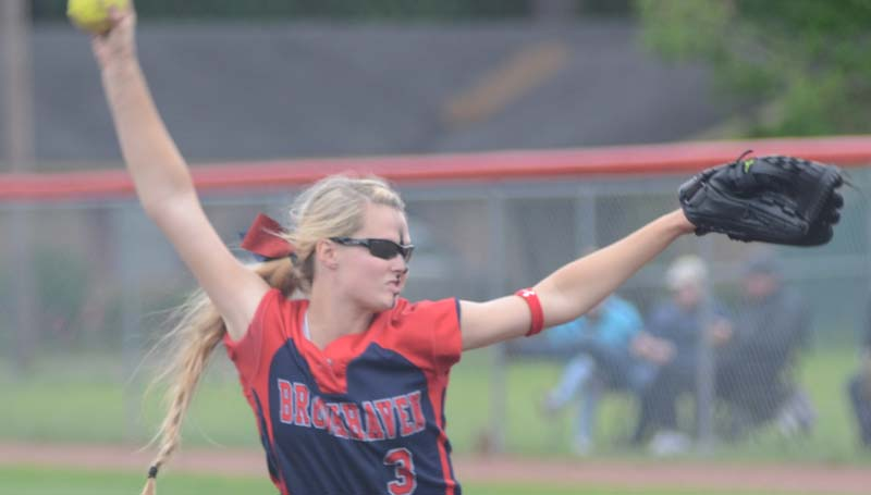 Daily Leader / File photo / Brookhaven's Katherine Shell secures the victory on the rubber against Bogue Chitto Saturday. Shell finished with five strikeouts and three walks. At the plate, she hit two homeruns.
