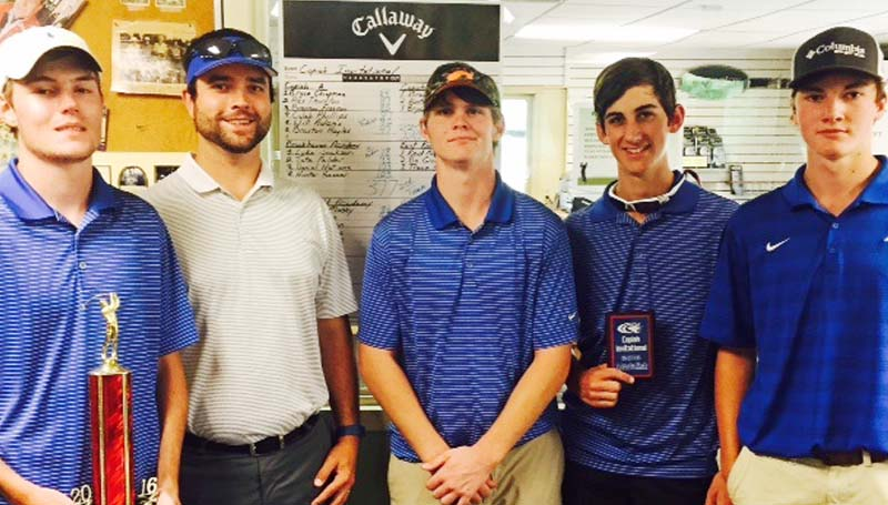 Daily Leader / Photo submitted / Brookhaven Academy's golf team placed second in the Copiah Invitational Tournament Monday at Rolling Hills Country Club in Crystal Springs.  Luke Jackson placed first in the tournament with a score of 78. Members of the BA golf team are (from left) Daniel Nations, coach Chad Lessard, Hunter Sasser, Luke Jackson and Tate Felder.