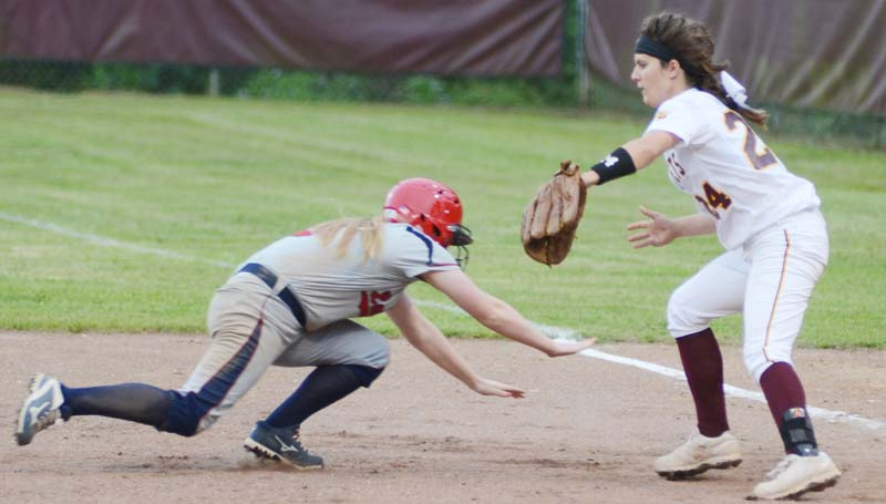 Daily Leader / Marty Albright / Enterprise's second baseman Jana Nations tags out South Jones' pinch runner Ashlynn Whitehead on a pick off play at first base Monday night.
