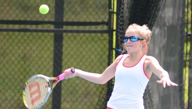Daily Leader / File Photo / Brookhaven's Maggie Massengill returns a serve in mixed double action against Pascagoula.