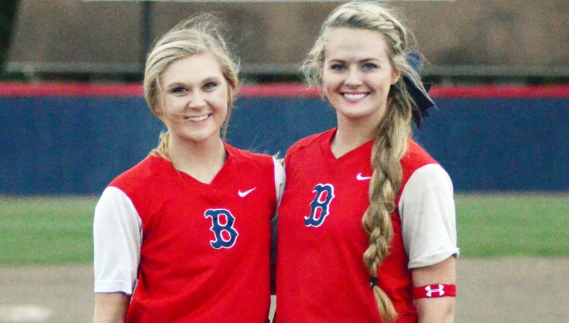 Daily Leader / Marty Albright / Brookhaven honored softball seniors Haley Speaks and Katherine Shell Wednesday night against Loyd Star.