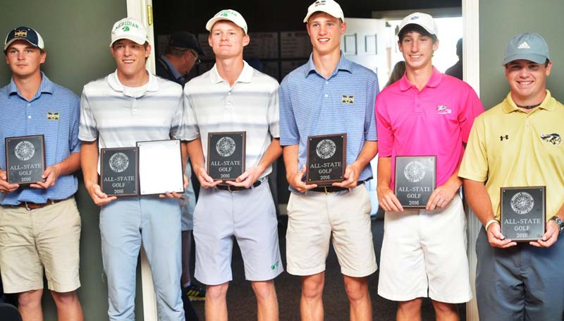 Co-Lin Media / Members of the Mississippi Association of Community/Junior Colleges first team All-State golf team included from left, Mississippi Gulf Coast's Grant Motter, Meridian's Lance Strickland, Meridian's Grant Renegar, Mississippi Gulf Coast's Colin Troxler, Copiah-Lincoln's Philip Heine and East Central's Zack Hammons.
