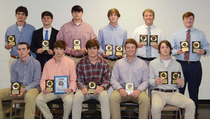 Daily Leader / Marty Albright / The Brookhaven Academy football team was honored during the school's Monday night athletic banquet. Players receiving special awards were (seated, from left) Madison Smith, All-District; Ross Felder, KDMC Golden Helmet, All-District; William King, All-District; Jon Taylor Cline, All-District; Connor Griffin, Cougar Award, All-District; (standing) Price King, All-District; Zach Carr, All-District; Kyle Cupit, All-District; Fisher Warren, Coaches Award, All-District; Roger Rushing, Most Outstanding Lineman, All-District; Carter Culbertson, Most Versatile, All-District.