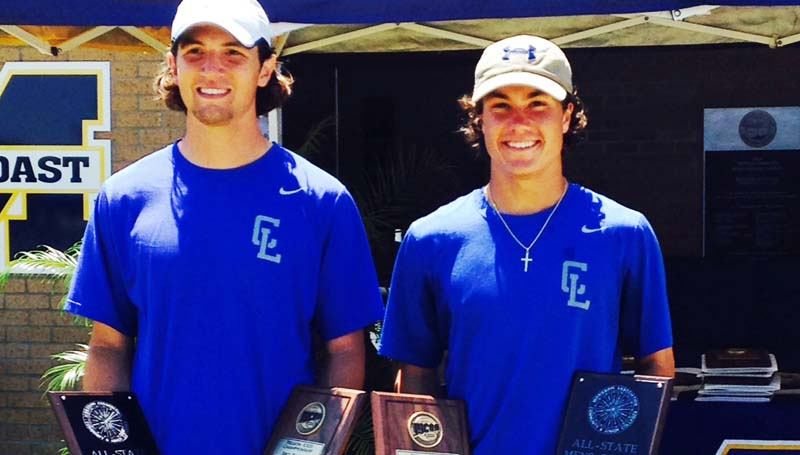 Co-Lin Media / Co-Lin's Braxton Hinton of Brookhaven (left) and Drake Nelson of Monticello won the MACJC State Championship at No. 3 doubles held in Parkinston. The duo defeated Brett Bowen and Chris Diep of Mississippi Gulf Coast 6-1, 6-1 in the championship match.