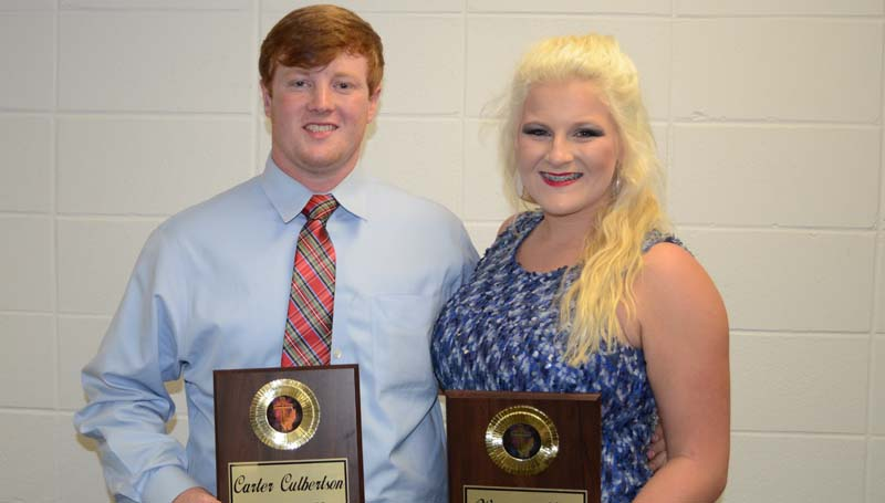 Daily Leader / Marty Albright / Brookhaven Academy seniors (from left) Carter Culbertson and Whitney Moak received Cougar Leadership award honors in Monday's athletic banquet.
