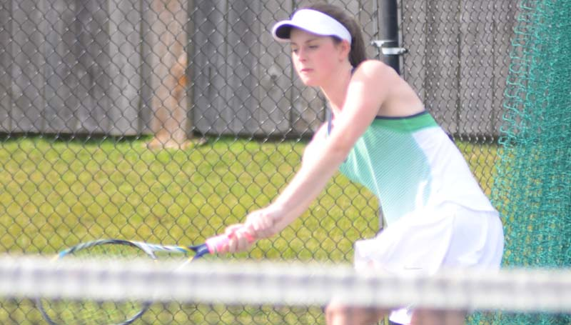 Daily Leader / Marty Albright / West Lincoln Katy Clark returns a serve in girls singles action against Resurrection Monday at the Brookhaven Country Club.