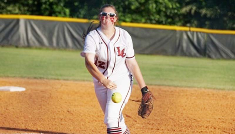 Daily Leader / Jana Harp / Lawrence County Jordan Harp delivers her pitch to Northeast Jones Tuesday.