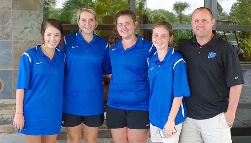 Daily Leader / Photo submitted / The Wesson Lady Cobras' golf team finished in fourth place with a final score 424 in the state tournament this week at Bay St. Louis. Members of the team are (from left) Olivia Allen, Kaitlyn Smith, Carrie McSweyn, Katie McSweyn and coach John Douglas.