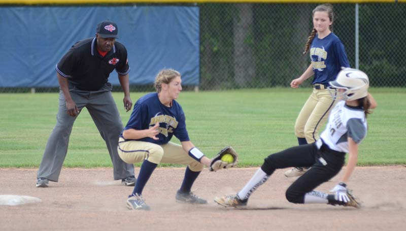 Daily Leader / Marty Albright / Bogue Chitto shortstop Terrah Nelson prepares to make a tag on Ethel's runner Breanna Blaine (10) sliding into second base in game two.
