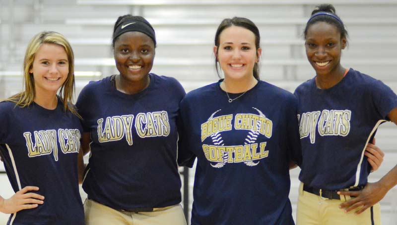 Daily Leader / File Photo / Bogue Chitto senior (from left) Alana Nettles, Christian Black, Brooke Myers and Zariah Matthews are looking to bring home a fastpitch softball state championship as the Lady Cats battle Smithville at Freedom Ridge Park.