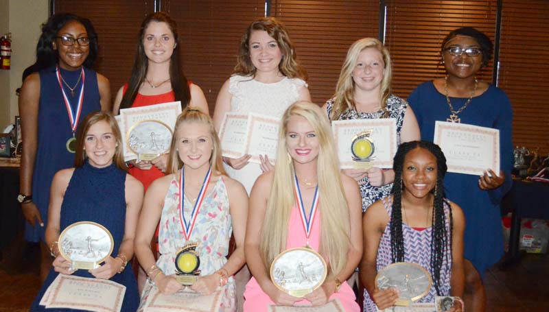 Daily Leader / Marty Albright / Receiving special awards Wednesday night at the Brookhaven Fastpitch Softball Awards Banquet were (from left, seated) Kat Wallace, Co-Most Valuable Offensive Player, All-Region; Haley Speaks, Hustle Award, Team Captain, All-Region; Katherine Shell, Most Valuable Player, Scholar Athlete Award, Team Captain, All-Region; Tia Bussey, Co-Most Valuable Offensive Player, Panther Award, All-Region; (standing) Takia Brooks, Team Captain; Macy Ziskin, Most Valuable Defensive Player, All-Region; Madison Thompson, All-Region; Jadeyn Fuller, Most Improved Player; and Jada Henderson, All-Region.