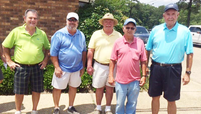 Daily Leader / Photo submitted / In Thursday's senior scramble at the Brookhaven Country Club, the team of (from left) Eddie Coleman, Lewis Midkiff, Craig Crozier, Charlie Davis, and Bill Johnson won with a score of 15 under par.