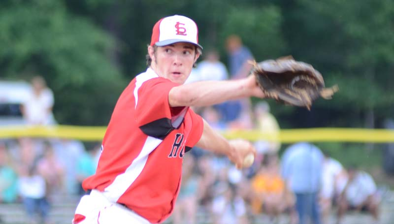 Daily Leader / Marty Albright / Loyd Star's Parker Flowers collects the win on the mound in the opener against Madison St. Joe Thursday night.
