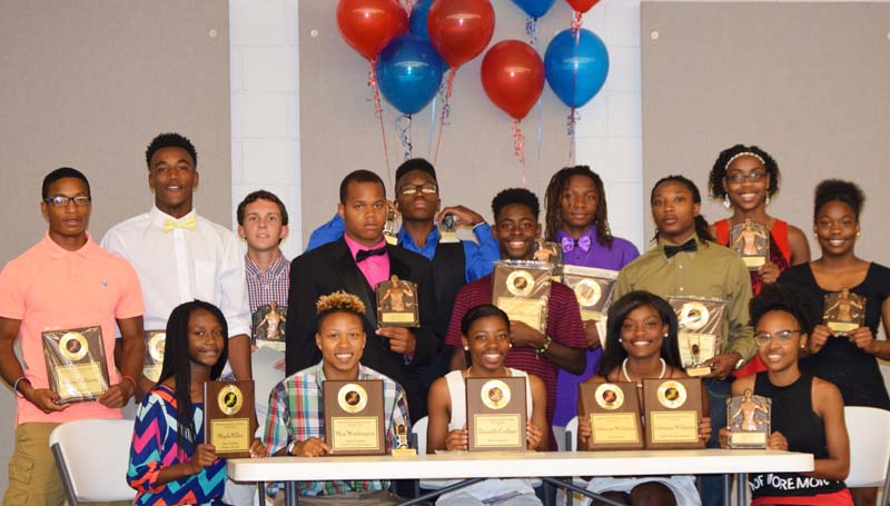 Daily Leader / Photo submitted / The Ole Brook Track and Field team members receiving special awards at Thursday night's banquet were (from left, seated) Miyah Miller, Most Valuable Distance Runner; Mya Washington, Most Valuable Field Event Participant; Danielle Culbert, Most Improved; Johnaya Williams, Most Valuable Sprinter, team captain; Artia Robinson, Scholastic Award; (standing) Kenny Bellamy, team captain; Jemaurian Jones, Most Valuable Sprinter; Caleb McCreary, Scholastic Award; Traveon Murray, Terrell Tanner Award; Deontrei Brown, Panther Award; Norman Woodard, Coaches Award; Adrian Lockwood, Most Valuable Player, Most Valuable Distance Runner; Montero Barton, Most Valuable Field Event Participant; Arnancy Arnold, Most Valuable Player; and Jerricka Williams, Terrell Tanner Award.