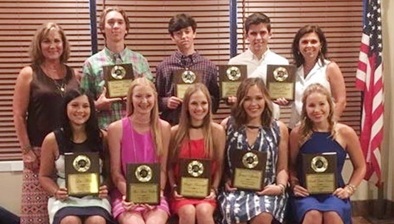 Daily Leader / Photo Submitted / The Brookhaven Tennis team received special awards Monday night during their athletic banquet. Players receiving awards were (front row, from left) Lea Allen, Most Outstanding Doubles Team; Alice Anne Walker, Most Outstanding Doubles Team; Maggie Massengill, Rookie of the Year; Jamie Sproles, Sportsmanship; Sarah Grace Evans, Heart of a Champion; (back row) Coach Nancy Fisher; Dalton Fortado, Rookie of the Year; Daniel Panzica, Most Valuable Player; Daniel Clark, Scholastic and Panther Award; and Coach Shannon Clark.