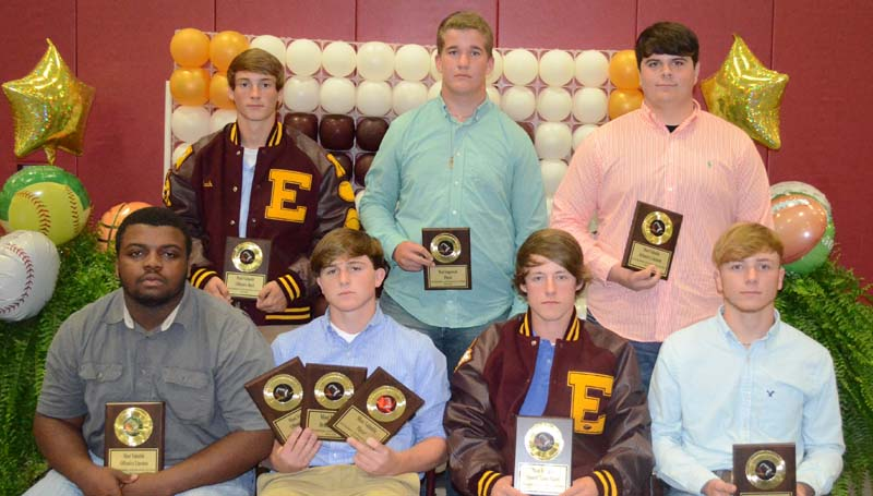 Daily Leader / Marty Albright / The Enterprise Yellow Jackets football team was honored during the school's athletic banquet. Players receiving awards were (seated, from left) Adam McGee, Best Offensive Lineman; Tanner Waldrop, Most Valuable Player, Best Defensive Back, Most Valuable Offensive Player; Tristan Cantrell, Most Valuable Special Team Player; Braxton Thompson, Most Valuable Defensive Player; (standing) Zach Hodges, Best Offensive Back; Noah Lambert, Most Improved; and Jonathan Britt, Best Defensive Linemen