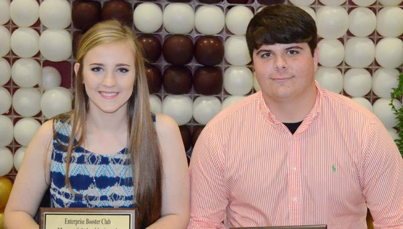 Daily Leader / Marty Albright / The Enterprise Booster Club honored three athletes with special scholarships during the school's athletic banquet. The finalist were (from left) Kinsey Dahlin, Maroon Scholarship; Jonathan Britt, Yellow Jacket Scholarship and not pictured Lauren Nuckles, Gold Scholarship.