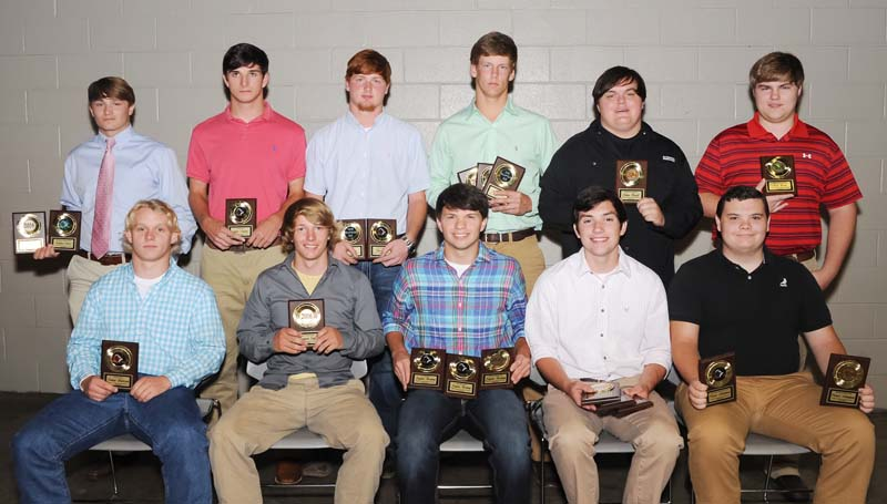 Daily Leader / Teresa Allred / The West Lincoln Bears football team was honored during the school's athletic banquet. Players receiving awards were (seated, from left) Julian Anderson, Hustle Award; Brennan Cagle, Senior Award; Jayden Rushing, Offensive MVP, All-District; Liam Rutland, All-District; Patrick Nottingham, Offensive Lineman Award; (standing) Matthew Allred, Defensive Lineman Award; Gabe Nations, All-District; Chase Owen, Elite Hands Award, Super 22-WR; Lofton Sills, Defensive MVP, Super-DE; Ethan Howell; Nicholas Burns, Senior Award.
