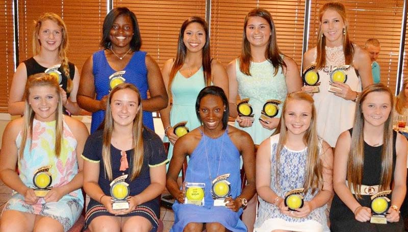 Daily Leader / Stacy Leake / The Bogue Chitto softball team was honored during the school's athletic banquet. Players receiving awards were (seated, from left) Reagan Kirkland, Most Improved; Julianna Frazier, Rookie of Year; Zariah Matthews, Batting Title, Outfield Award; Baileigh Jackson, Infield Award; Karly Leake, Lady Bobcat Award; (standing) Stevie Montgomery, Coaches Award; Christian Black, Pitcher Award; Cherie Savoie, Down-N-Dirty Award; Codi Leggett, Silver Slugger, Golden Glove; and Terrah Nelson, MAC 1A/2A/3A All-Star, RBI Title.
