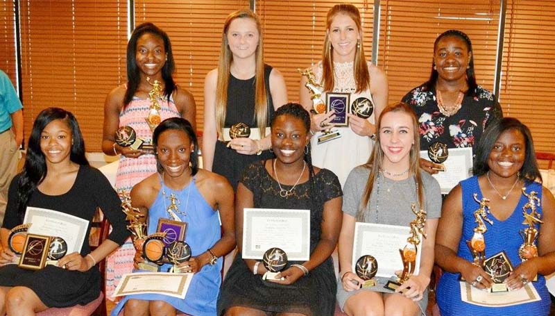 Daily Leader / Stacy Leake / The Bogue Chitto girls' basketball team was honored during the school's athletic banquet. Players receiving awards were (seated, from left) Shakiriana Jefferson, Best Offensive Player, All-District, Daily Leader Team; Zariah Matthews, Most Valuable Player, All-State, All-Lincoln County MVP, All-District MVP, Daily Leader Team MVP; Perstashia Henderson, Lady Cat Award; Karlie Williams, Tenacity Award, All-Lincoln County; Christian Black, Best Rebounder, All-State, All-Lincoln County, All-District; (standing) Taneshia May, Best Defensive Player; Karly Leake, Rookie of Year, All-Lincoln County; Terrah Nelson, Miss. Hustle, All-Lincoln County, All-District; Lineka Newson, Most Improved.