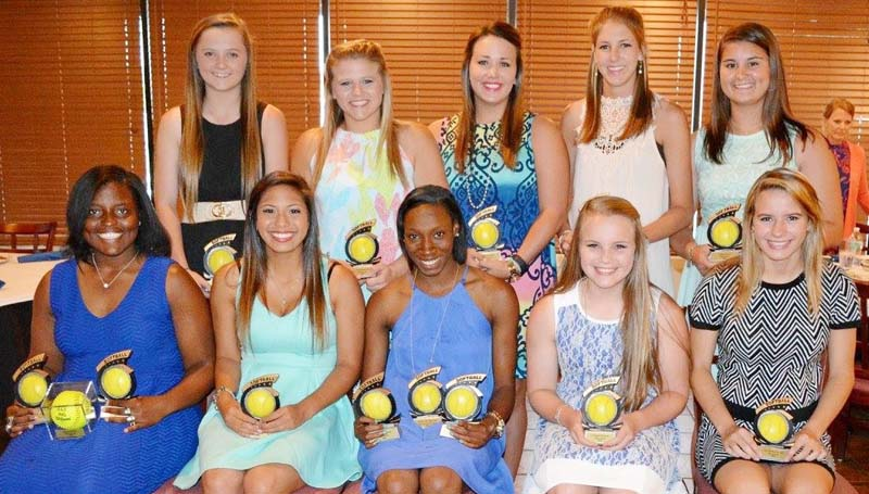 Daily Leader / Stacy Leake / The Bogue Chitto slowpitch softball team was honored during a sports athletic banquet. Players receiving awards were (seated, from left) Christian Black, Batting Title, MAC 1A/2A/3A All-Star, Daily Leader All-Area Offensive MVP; Cherie Savoie, Down-N-Dirty Award; Zariah Matthews, Outfield Award, MAC 1A/2A/3A All-Star, Daily Leader All-Area Defensive MVP; Baileigh Jackson, Coaches Award; Alana Nettles, Lady Bobcat Award; (standing) Karly Leake, Infield Award; Reagan Kirkland, Most Improved; Brooke Myers, Pitching; Terrah Nelson, Silver Slugger; Codi Leggett, Golden Glove.