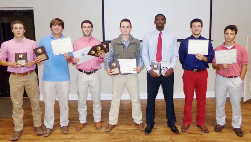 Daily Leader / submitted / Receiving All-Region 6-5A Awards at Brookhaven Baseball Awards Banquet were (from left) Clint Stephens, Tate Walley, Blaine Moak, Jacob Porter, Darrian Wilson, Reese Reynaud and Tyler Mixon.