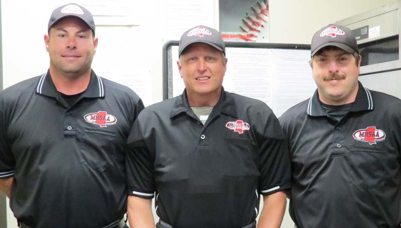 Daily Leader / Photo submitted / Local umpires from Lincoln County and Lawrence County (from left) Jaymie Palmer, Kevin Britt, and Grant Williamson called the Class 4A State Championship Baseball Game Sunday at Trustmark Park in Pearl.