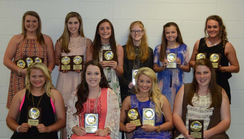 Daily Leader / Marty Albright / The Brookhaven Academy fastpitch softball team was honored during their spring athletic banquet. Players receiving awards were (seated, from left) Madi Smith, Heart of a Champ; Kailyn Jordan, All-District; Alex Rae Smith, Lady Cougar Leadership, All-District; Cameron Watson, All-District; (standing) Allie Summers, Most Valuable Player, All-District, MAIS All-Star; Anna Grace Covington, Best Defensive Player, All-District; Elizabeth Case, Coaches Award; Olivia Lewis, Cougars Award; Allison Livingston, Highest Batting Average, All-District.