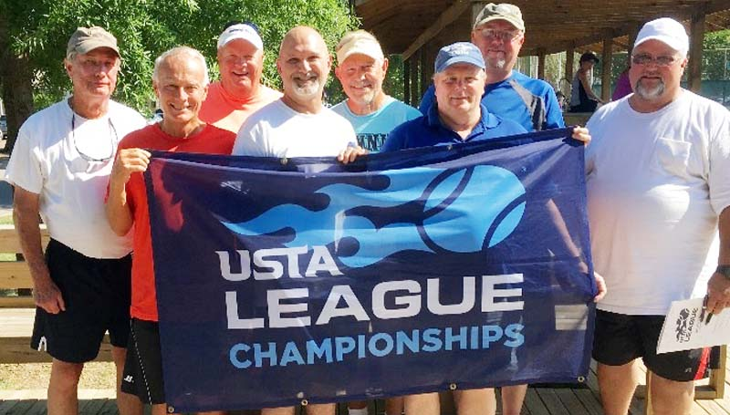 Daily Leader / Photo submitted / Brookhill's UTSA Men's Doubles 50 & over 6.0 captured the State Championship in Mississippi. Members of the team are (front, from left) Dennis Roberts of McComb; Mark Giust of Brookhaven; Clay Ladd of Monticello; (back) Ted Rounsaville of Addis, Louisiana; Perry Fillion of McComb; and Jim Latham of Brookhaven.