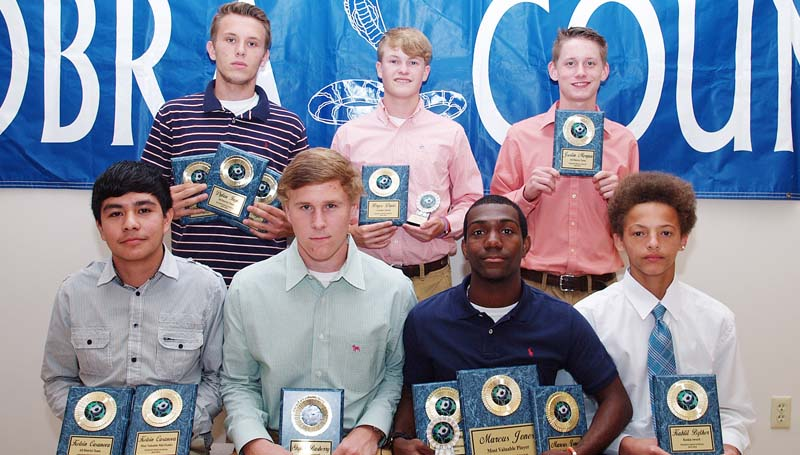 Daily Leader / Tracy Fischer / The Wesson boys' soccer team was honored during the school's athletic banquet. Players receiving awards were (from left, seated) Kelvin Casanova, All District Team, Most Valuable Mid Fielder; Skyler Rasberry, Most Improved; Marcus Jones, Senior, Most Valuable Player, All District Most Valuable Mid Fielder, Captain; Kahlil Byther, Rookie Award; (standing) Dylan Ingle, Senior, All District Team, Most Valuable Offensive Player, Captain; Bryce Davis, Senior, Coaches Award; Justin Morgan, All District Team. Not pictured is Fidel Mellado, Most Valuable Defensive Player, All District Most Valuable Defensive Player.