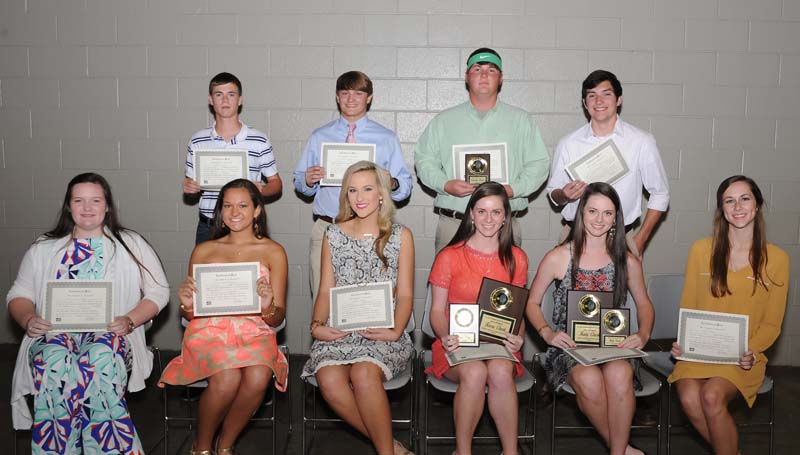 Daily Leader / Teresa Allred / The West Lincoln tennis team was honored during a spring athletic banquet. Players receiving awards were (seated, from left) Abby Grace Stogner; Laura Leigh Dunaway; Madison Franklin; Kara Clark, Most Valuable girls doubles, Class 1A/2A State Champs; Katy Clark, Most Valuable girls doubles, Class 1A/2A State Champs; Carlie Smith; (standing) Jonathan Mathis; Matthew Allred; Sebastian Harrell, Most Valuable boys singles; Liam Rutland.
