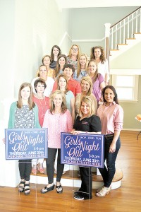 Photo submitted/ Several retailers and restaurants are participating in the sixth annual Girls Night Out event. Representing some of the businesses are, front row from left, Jillian Ricceri, Cathy Franck, Tessa Bradford and Katie Nations; second row from left, Melinda Said, Emily Childress and Carrie Nettles; third row from left, an unidentified Bumpers Drive-In employee, Jason Martin-Nez and Abby Nations; fourth row from left, Debbie Smith, Kellie Simmons and Anna Grace Brown; and fifth row from left, Erin Johnson, Brandi Day and Becky Rainier.