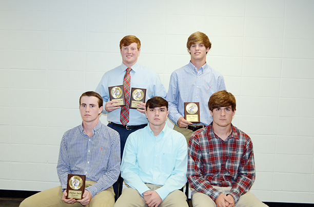 The Brookhaven Academy Cougars honored their baseball team during a spring banquet. Players receiving awards were (seated, from left) Madison Smith, Offensive Most Valuable Player, All-District; Taylor Freeny, All-District; William King, All-District; (standing) Carter Culbertson, Defensive Most Valuable Player, Mr. Hustle, All-District; and Fisher Warren, Cougar Award, All-District.