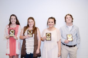 The Brookhaven Academy track team was honored during their spring athletic banquet. Players receiving awards were (from left) Kaitlyn Jordan, Most Valuable Girls Runner; Cameron Watson, Top Field Event; Kaitlyn Van Norman, Coaches Award; and Connor Griffin, Most Valuable Boys Runner.