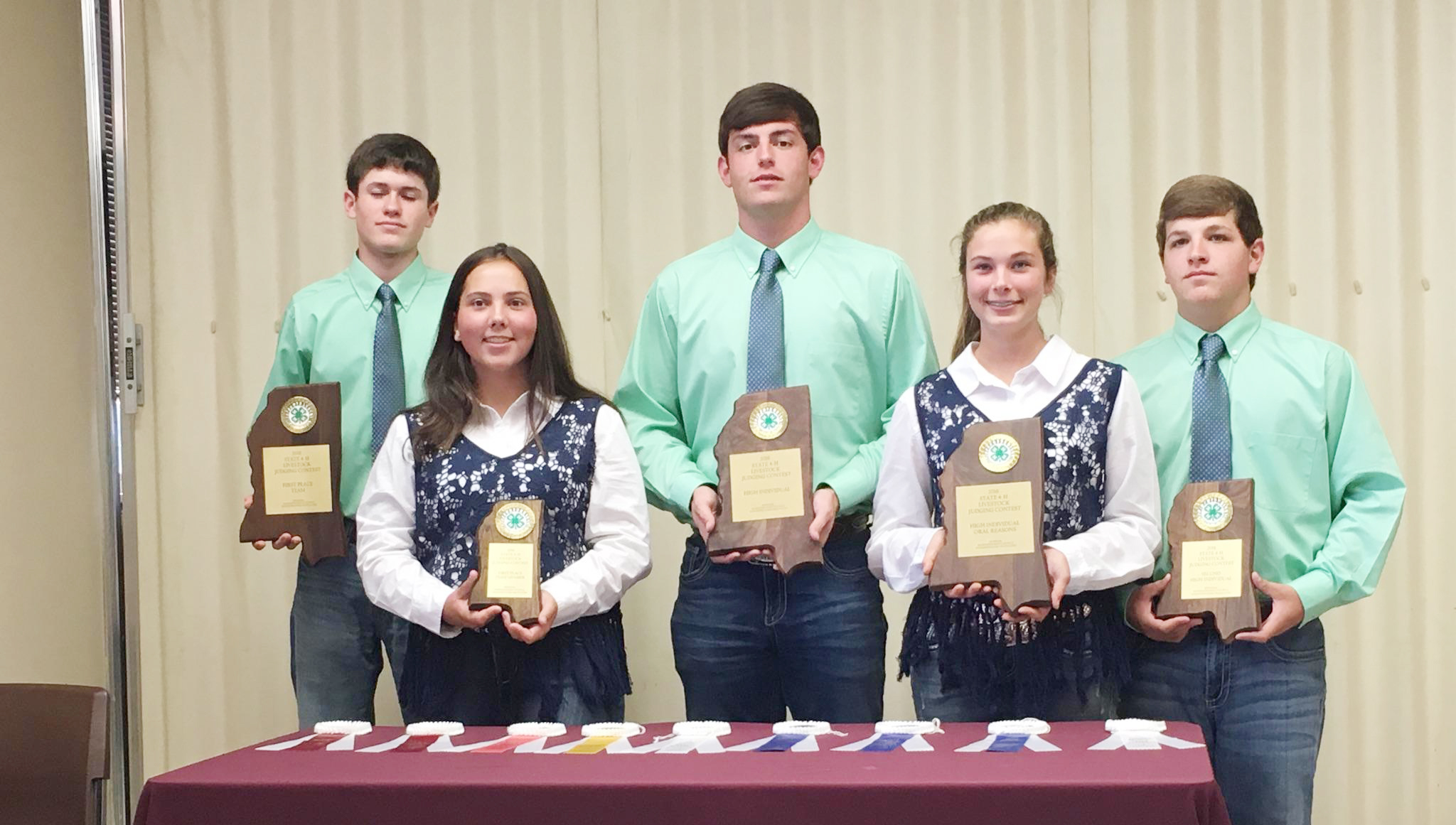 Photo submitted/The Lincoln County senior 4-H livestock judging team placed first at the Mississippi State University state contest, earning the team a trip to the national contest in Denver, Colorado in January.