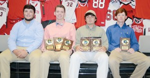 The Loyd Star boys' soccer team was honored during a sports athletic banquet at the Lincoln Civic Center. Players receiving awards were (seated, from left) Lane Rogers, All-District; Brad Jasper, Most Valuable Player, Rookie of Year, Most Valuable Midfielder, All-District; Ryan Nevels, Most Improved, Coaches Award, All-District; and Dylan Smith, Most Valuable Defensive Player.