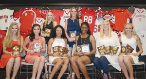 The Loyd Star girls' basketball team was honored during its athletic banquet. Players receiving awards were (seated, from left) Lydia Britt, Best Free Throw Shooter; Caylee Grace Yarborough, Most Improved; Toni Banks, Most Assists, Most Three Point Shots Made, Best Free Throw Shooter, Senior Award; Jordan Shelby, Most Assists, Best Defensive Player, All-Lincoln County, Senior Award; Hannah Dickerson, Most Blocked Shots, Best Attitude, All-Lincoln County, Senior Award; Makenzie Smith, Most Valuable Player, Best Rebounder, Best Offensive Player, All-Lincoln County; (standing) Faith Bergeron, Miss Hustle; and Katie West, Scholastic Award.