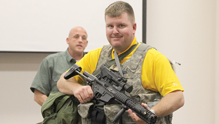Photo by Alex Jacks/Bogue Chitto principal Jay Rayborn stands dressed out in the gear law enforcement would don during an active shooter situation.