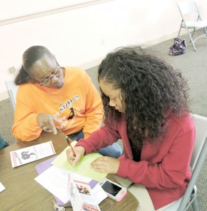 Photos submitted/Virginia Hamilton (left) helps Deoushanay Lewis complete a skill-building project during one of the monthly workshops hosted by Rising S.T.A.R.S. of Christ, a mentor program in Brookhaven.