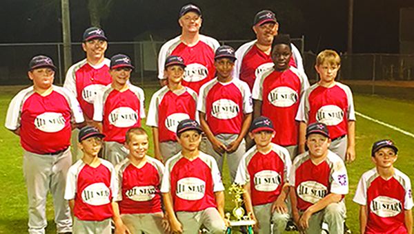 Photo submitted/ The 10-year-old American All-Stars defeated the Pike Americans in three games to claim the district championship over the weekend. They will now advance to the state tournament, where their first game is set for Friday at 8 p.m. Team members are Caden Yarborough, Caden White, Samuel  Evans, Colby Terrell, Tanner Stokes, Connor Cunningham, Elijah Calcote, Noah Gatlin, Nathan Poole, Xavier Gayten and Nathan Rawls. Coaches are Shane Stokes, Chris Terrell and Tim Cunningham.
