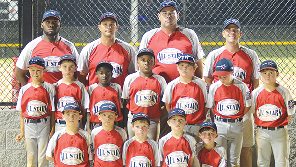 Photo by Anthony McDougle/  The 8-year-old Lincoln American All-Stars finished in second place in the state tournament after an 11-0 loss to Columbia in the championship game. The team will now advance to the Dixie Youth World Series in Laurel.  The World Series will begin July 30 with Lincoln representing Mississippi in the AA(machine-pitch division). Members of the team are Glenn Lewis, Seth DeGeorge, Carter Palmer, D.J. Washington, Wilson Calcote, Cole Spencer, Dawson White,Graham Smith, Ladarious Jackson, Bram Wolfe, Walker Brady and Casen Easterling. The Americans head coach is Shane Easterling. Assistant coaches are Colby Calcote, Jaymie Palmer and Durrell Washington.