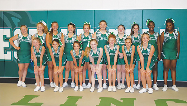 Photo submitted/ West Lincoln Junior High cheerleaders recently attended an NCA camp.  During camp, they received the following awards:  Herkie Team Award, Stunt S.A.F.E. Award, Technical Excellence Award, Squad Credential Certificate, Excellent Ribbon for Chant and Superior Ribbon for Cheer. Members of the squad are, front row from left): Bailee Goodson, Ainsley Griffin, Brooklyn Laird, Cameron Sumrall, Hannah Jarreau, Jona Hughes, Maggie Newman and Katherine Gifford; back row, from left: Whitney Howell, Summer Mulkey, Lorelai Langley, Maggie Owens, Madeline Rollins, Heidi Smith, Kellcee Smith, Cara Bowman, Brittany Sturkey and A'mya Brown.  Cheer coaches (not pictured) are Janice Davis and Kellee Smith.