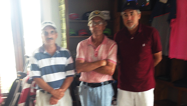 Gerald Lemieux, Kenny Thornhill and Tommy McNeil (right) and Eddie Ashley(not pictured) tied for first place with a score of 59 at the Brookhaven Country Club senior scramble Thursday.