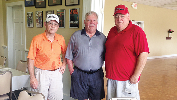 Photo submitted/ Ronnie Grenn, Craig Crozier and Ralph Boone tied for first place with a score of 59 at the Brookhaven Country Club senior scramble Thursday.